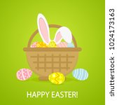 colorful easter eggs and rabbit ...   Shutterstock . vector #1024173163