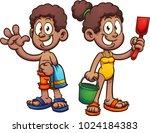 happy black cartoon kids in... | Shutterstock .eps vector #1024184383