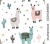 seamless pattern with lama and...   Shutterstock .eps vector #1024184854