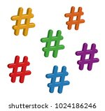 colourful 3d hashtags in vector ... | Shutterstock .eps vector #1024186246