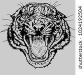 monochrome vector tiger head.... | Shutterstock .eps vector #1024192504