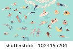 people in sea or ocean... | Shutterstock .eps vector #1024195204
