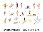 collection of people performing ... | Shutterstock .eps vector #1024196176