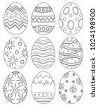 black and white easter egg... | Shutterstock . vector #1024198900
