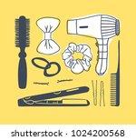 hand drawn illustration hair...   Shutterstock .eps vector #1024200568