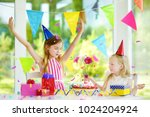 adorable girl having birthday... | Shutterstock . vector #1024204924