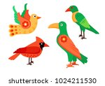 colorful exotic birds. vector... | Shutterstock .eps vector #1024211530