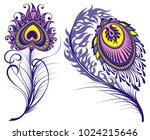 vector isolated peacock feathers   Shutterstock .eps vector #1024215646