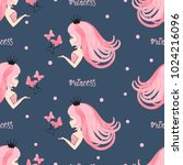 seamless princess pattern with... | Shutterstock .eps vector #1024216096