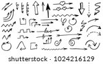 arrows  doodle hand drawn... | Shutterstock .eps vector #1024216129