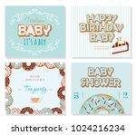baby shower cards set for boys. ... | Shutterstock .eps vector #1024216234