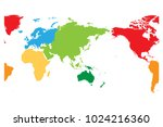 world map divided into six... | Shutterstock .eps vector #1024216360