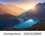 mountains and lake with blue... | Shutterstock . vector #1024220800