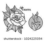 rose tattoo design | Shutterstock .eps vector #1024225354