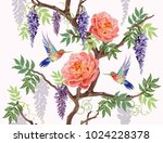 Stock vector beautiful seamless vector floral summer pattern background with hummingbird japanese exotic 1024228378