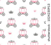 seamless princess pattern with... | Shutterstock .eps vector #1024230913