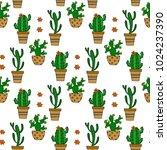 cactus seamless vector pattern. ... | Shutterstock .eps vector #1024237390