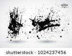 set of black splash on white... | Shutterstock .eps vector #1024237456