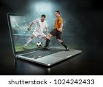 caucassian soccer players in... | Shutterstock . vector #1024242433