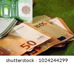 100 and 50 euro banknote on... | Shutterstock . vector #1024244299