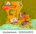 Illustrated map of Louisiana, USA. Travel and attractions