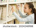 cute little girl picking books...   Shutterstock . vector #1024248988