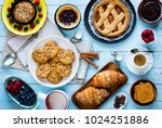 top view of a wood table full...   Shutterstock . vector #1024251886