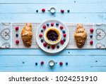 top view of a wood table full...   Shutterstock . vector #1024251910
