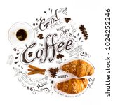 hand drawn coffee lettering... | Shutterstock . vector #1024252246