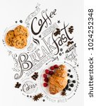 hand drawn breakfast lettering... | Shutterstock . vector #1024252348