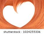 hair in shape of heart on white ... | Shutterstock . vector #1024255336