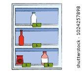 supermarket shelving with... | Shutterstock .eps vector #1024257898