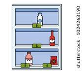 supermarket shelving with... | Shutterstock .eps vector #1024263190