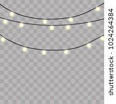 set of golden xmas glowing... | Shutterstock .eps vector #1024264384