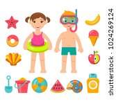 children on beach vacation.flat ... | Shutterstock .eps vector #1024269124