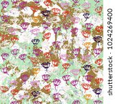 vector floral grunge pattern... | Shutterstock .eps vector #1024269400