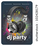 headphones. party flyer design | Shutterstock .eps vector #102428179
