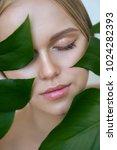beauty  blonde model with... | Shutterstock . vector #1024282393