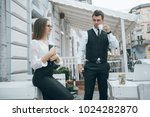 business man and woman having a ... | Shutterstock . vector #1024282870