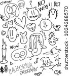 hand drawn pattern doodles and... | Shutterstock .eps vector #1024288570
