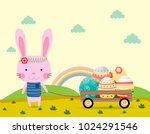 happy easter greeting card...   Shutterstock .eps vector #1024291546