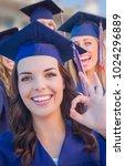 happy graduating group of girls ... | Shutterstock . vector #1024296889