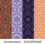 set of 4 seamless geometric... | Shutterstock .eps vector #1024305460