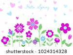 hello spring floral background. ... | Shutterstock .eps vector #1024314328