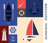 a grid of flat vector nautical... | Shutterstock .eps vector #1024315438