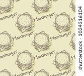 pattern hamburger drawing... | Shutterstock .eps vector #1024316104