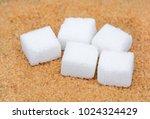 brown sugar with white sugar... | Shutterstock . vector #1024324429