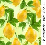 seamless pattern of lemons on a ... | Shutterstock .eps vector #1024337233