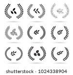 set of black laurel wreaths... | Shutterstock .eps vector #1024338904