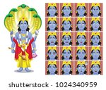 hindu god vishnu cartoon... | Shutterstock .eps vector #1024340959